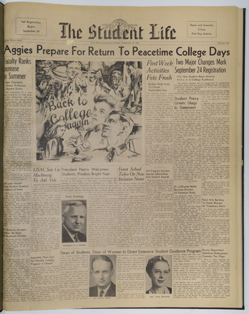 "Front page of the September 24, 1945 ""Student Life"" newspaper"