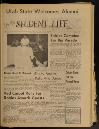 "Six pages from the ""Student Life"" newspaper, October 23, 1964"