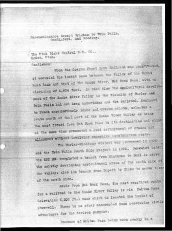 Railroad Reconnaissance Report, Pages 1-27, 1928<br />