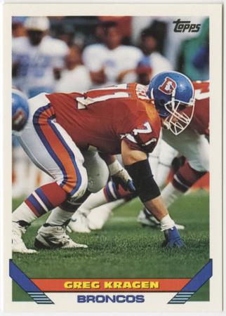 Football card - Greg Kragen, Denver Broncos, 1993