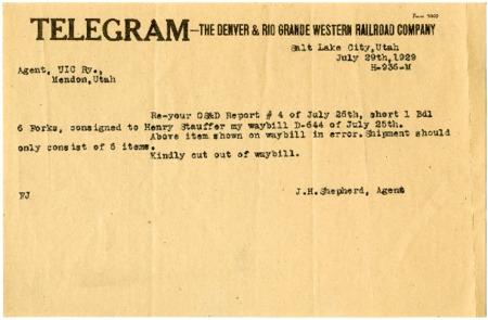 Telegram Correspondence between D. & R.G.W. Railroad and U.I.C., 1929<br />